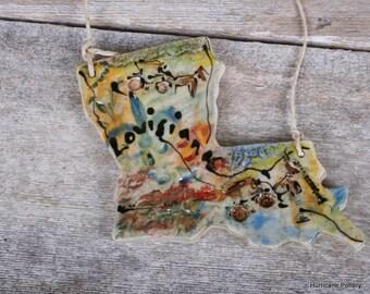 Handmade Louisiana Ornament. Ceramic Clay Ornament.  State of Louisiana Ornament.  Street Art