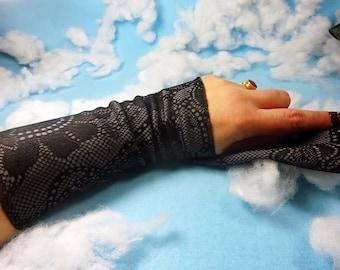 Grey lace print cuff, lace print wrist cuff, grey victorian glove, boho bracelet, stretch fabric bracelet, wrist tattoo cover