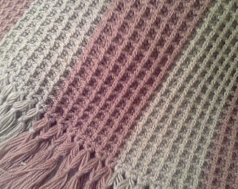 Hand Crochet Blanket Throw, Mauve Soft Grey Crochet Blanket,  Pink Grey Blanket Crochet Afghan OOAK
