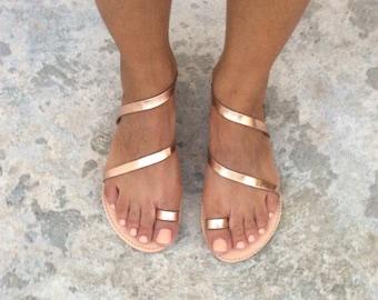 Greek Sandals, Gladiator Sandals,pink Gold Sandals,pink Gold Leather Sandals, Leather Sandals, Strappy Sandals, Summer Sandals, Gold Wedding
