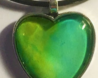 Heart Pendant, Silver, Valentine's Day, Alcohol Inks, Glass, Necklace, Lime Green and Aqua
