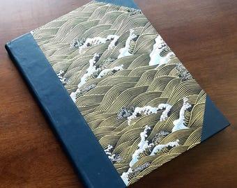 Half-Bound Leather & Waves Music Composition Journal 10 Staff 200 pgs