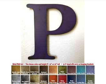 """Metal Letter P - 8"""", 12"""", 16"""" or 22"""" inch tall - Handmade metal wall art - Choose your Patina Color, Size and Letter or Number - Metal Decor"""