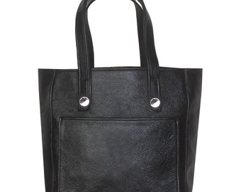 Leather Tote, Black Leather Tote Bag, Leather Handbag, Leather Laptop Bag, MacBook Bag, Black Tote, Bag With Clasp