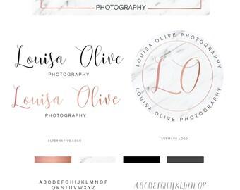 Marble Logo, Rose Gold Logo, Custom Logo Design, Modern Minimalist Logo, Premade Logo, Photography Logo Fashion Blog Logo, Branding Kit