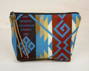 Wool Makeup Bag in Brown and Turquoise Tribal, Southwestern, Aztec, Native American / Zipper Pouch / Cosmetics Bag / Travel Bag
