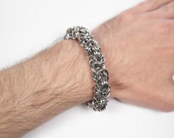 Byzantine-3 Bracelet, Chainmaille Bracelet, Stainless Steel, Byzantine Bracelet, Chainmail Bracelet, Chain Maille Bracelet, Mens Bracelet