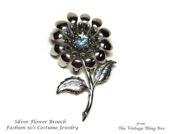"2.25"" Silver Flower Brooch with Prong Set Blue Topaz Chaton Cut Rhinestone Crystal in Figural Motif - Vintage 50's Floral Costume Jewelry"