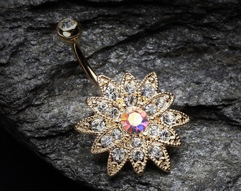 Golden Chrysanthemum Flower Belly Button Ring