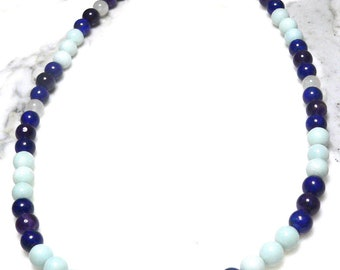 Semi-Precious Hand Strung Amazonite, Amethyst, Lapis Lazuli, and Rainbow Moonstone Beaded Necklace