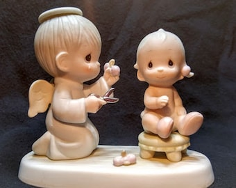 "Precious Moments Figurine ""Baby's First Haircut"""