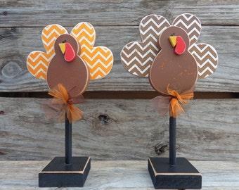 Thanksgiving Decor, Fall Decor, Turkey Decor, Turkeys on stands,Set of 2