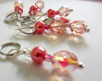 Pink Champagne stitch markers by AnniePurl