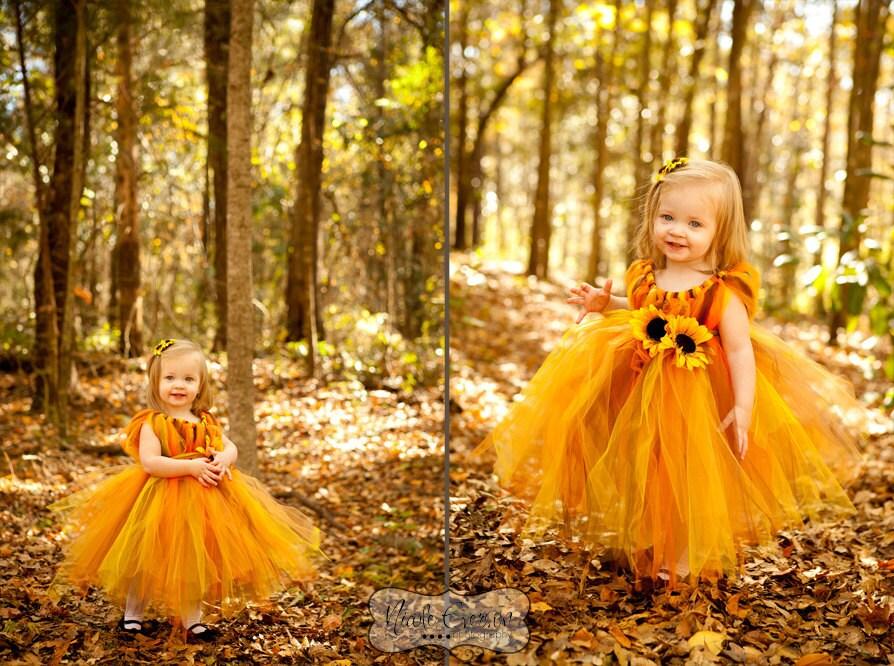 Flower Girl Dress Wedding Dress Fall tutu dress Flower