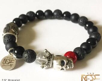 Men's Skull Beaded Bracelet, Skull Bead Bracelet, Sliver Plated Skull Bracelet, Lava Stone Bracelet, Onyx Bead Bracelet, 8mm Beaded Bracelet