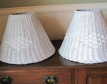 Wicker lamp shade etsy wicker lamp shades white wicker lamp shades aloadofball Choice Image