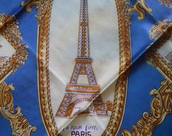 Vintage Paris Souvenir Silky Scarf 1950s Eiffel Tower Moulin Rouge Sacre Coeur