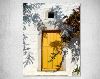 door photography  travel photography Greek island village Greece picture summer yellow flower white yellow wall art home decor photo print