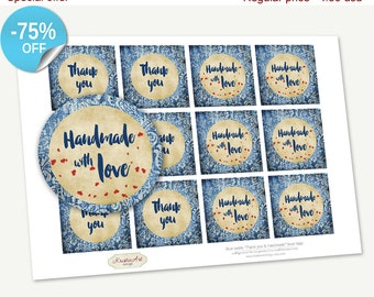 "75% OFF SALE Printable Favor Tags ""Thank you&Handmade"" Blue Swirls, Printable Thank You Tag, Cupcake Toppers, Printable Supplies, Stickers"
