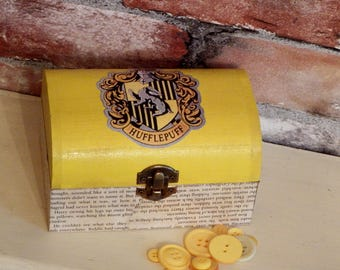 """FREE POSTAGE Harry Potter inspired Hufflepuff trinket, jewellery box """"Aged"""" book pages. Potterhead gift"""