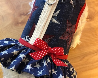 4th of July Stars Small Dog ruffle Harness, Made in USA, dog harnesses, pet clothing