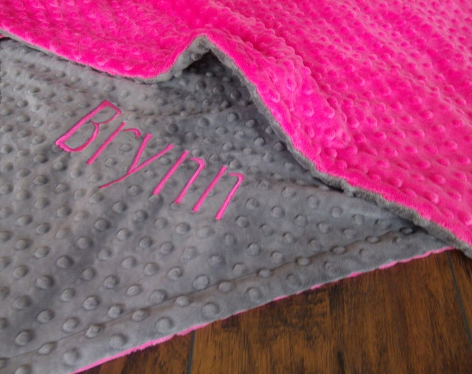 Fuchsia Hot Pink Minky Dot and Charcoal Gray Minky Baby Blanket