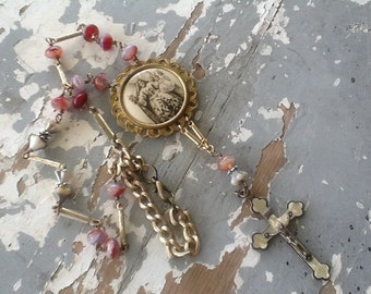 Religious Necklace Assemblage Necklace Repurposed Necklace Recycled Jewelry Ooak Upcycled Jewelry