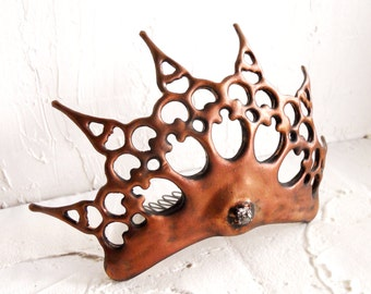 Copper tiara Queen of the ball tiara distressed Antique Copper color made of Clock hands evil queen inspired perfect for the steampunk bride