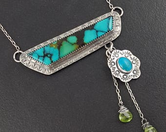 Turquoise Peridot Necklace, sterling silver, michele grady, stamped, turquoise, blue silver, turquoise jewelry, boho, bohemian, pendant