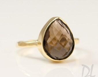 Smokey Quartz Ring Gold, Tear Drop Ring, Brown Stone Ring, Solitaire Ring, Stacking Ring, Statement Ring, Quartz Stone Ring, Cocktail Ring