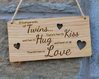 Hanging Wooden Twins Plaque Sign for Parents of Twins Two To Kiss Hug Love