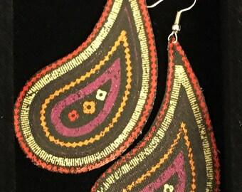 Handmade, textile drop earring, paisley/ teardrop shape