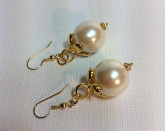 Vintage Pearl And Gold Earrings