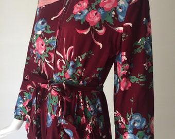 1940s Gabardine Floral House Dress Robe