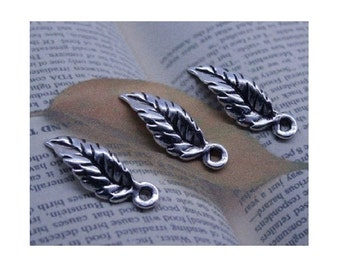 50 Small Curled Leaf Charms Silver Tone Well Crafted Lovely Leaves Bulk Jewelry Supplies Please Note Size 6x19mm