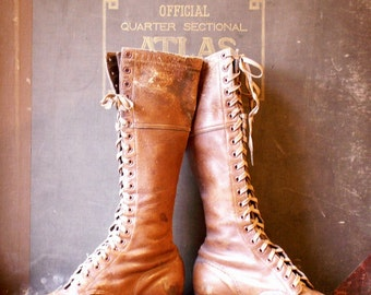 Vintage Brown Leather Lace Up Ladies Riding Boots - Equestrian Style for the Kentucky Derby!