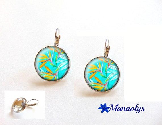 Bird of paradise, flower, earrings dangle earrings, glass 3548 cabochons
