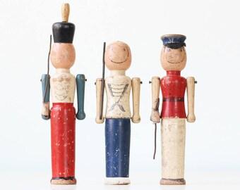 Vintage Wooden Soldiers, set of 3