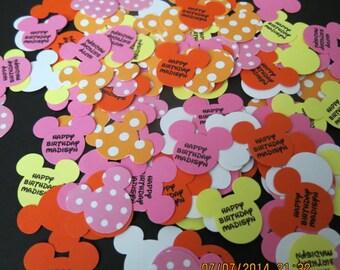 Personalized Baby Minnie's 1st Birthday Confetti/Embellishments/Die Cuts