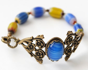 Blue and Yellow Cuff Bracelet, Floral Cuff Bracelet, Blue Czech Glass Bracelet, Blue and Gold, Antiqued Brass Bracelet, Gift for her, SRAJD