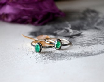 Your Custom Emerald Gemstone Silver Rustic Stacker Ring