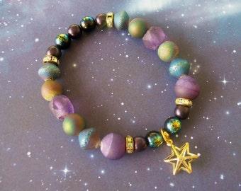 STAR STUFF - Celestial Stretchy Beaded Space Bracelet
