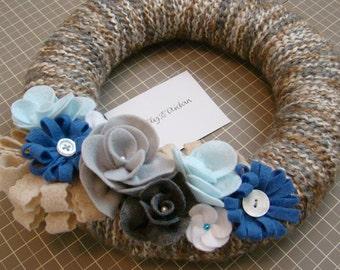 Fall Winter 10 inch Handmade Yarn Wreath with Blue, Gray, White Felt Flowers