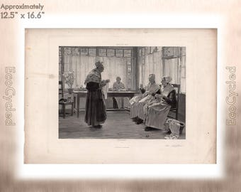 An Asylum by Walter Gay Antique Photogravure Print Goupil Vintage Paper Ephemera zyxG27