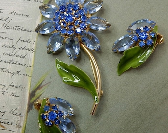 Blue Rhinestone Flower Brooch & Earrings Set   NDK28