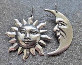 Large Antique Silver Asymmetrical Sun And Moon Earrings - Titanium, Niobium OR 925 Sterling Silver Ear Wires - Boho Tribal Earrings