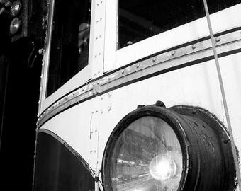 Trolley Headlight Black and White Photograph - B&W Vintage Transportation Photo - Old Streetcar Photography - Bygone Days - Hand Signed Art