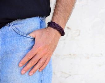 Dark Purple Bracelet, Wrap Bracelet, Men Bracelet For Boyfriend, Chunky Bracelet, Hippie Bracelet, Male, Pulsera, Armband, Hipster Gifts