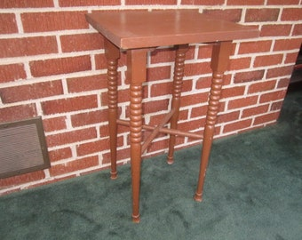 Antique 19c Primitive Painted Brown Wood Table or Plant Stand