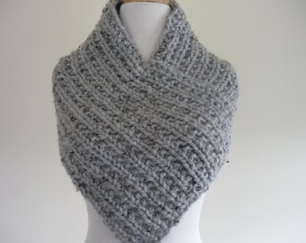 Knit Cowl, Knit Neck Warmer, Textured Rib Stitch Cowl Neck Warmer in Grey Marble - Wool Blend - Soft Cowl - Warm Cowl - Ready to Ship